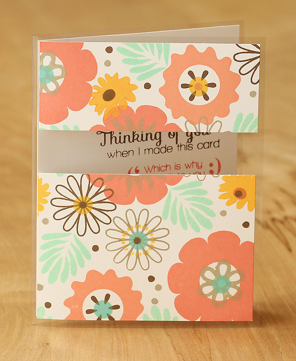 Card by Lisa Spangler using Simon Says Stamp Petal Pieces and Inside Outside Sayings plus new Hero Arts Fresh Peach and Mint Julep inks.