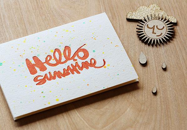 Hello Sunshine letterpress by Lisa Spangler