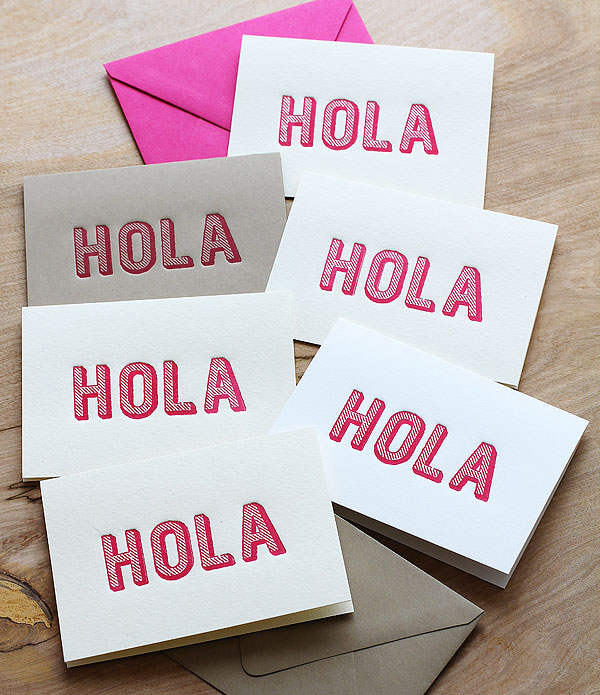 Hola lettterpress by Lisa Spangler