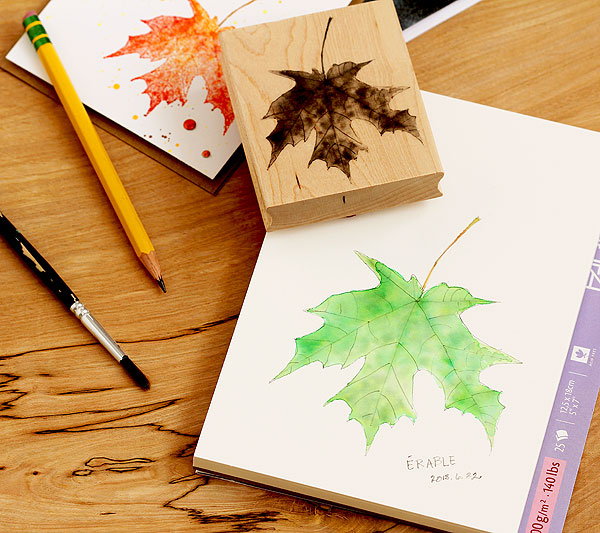 Lisa's Painted Maple Leaf stamp BTS by Lisa Spangler for Hero Arts