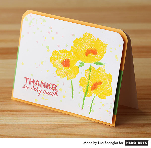 Dauber-to-stamp poppies by Lisa Spangler for Hero Arts