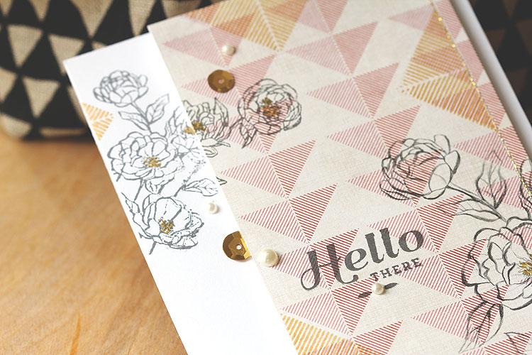 Stamp on patterned paper by Lisa Spangler