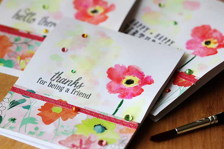 Watercolored Poppies by Lisa Spangler