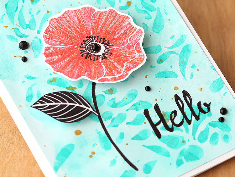 Color directly on a stamp with markers for a pretty poppy texture by Lisa Spangler
