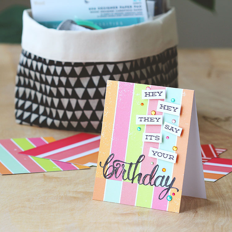 Trim striped paper and reverse a strip by Lisa Spangler