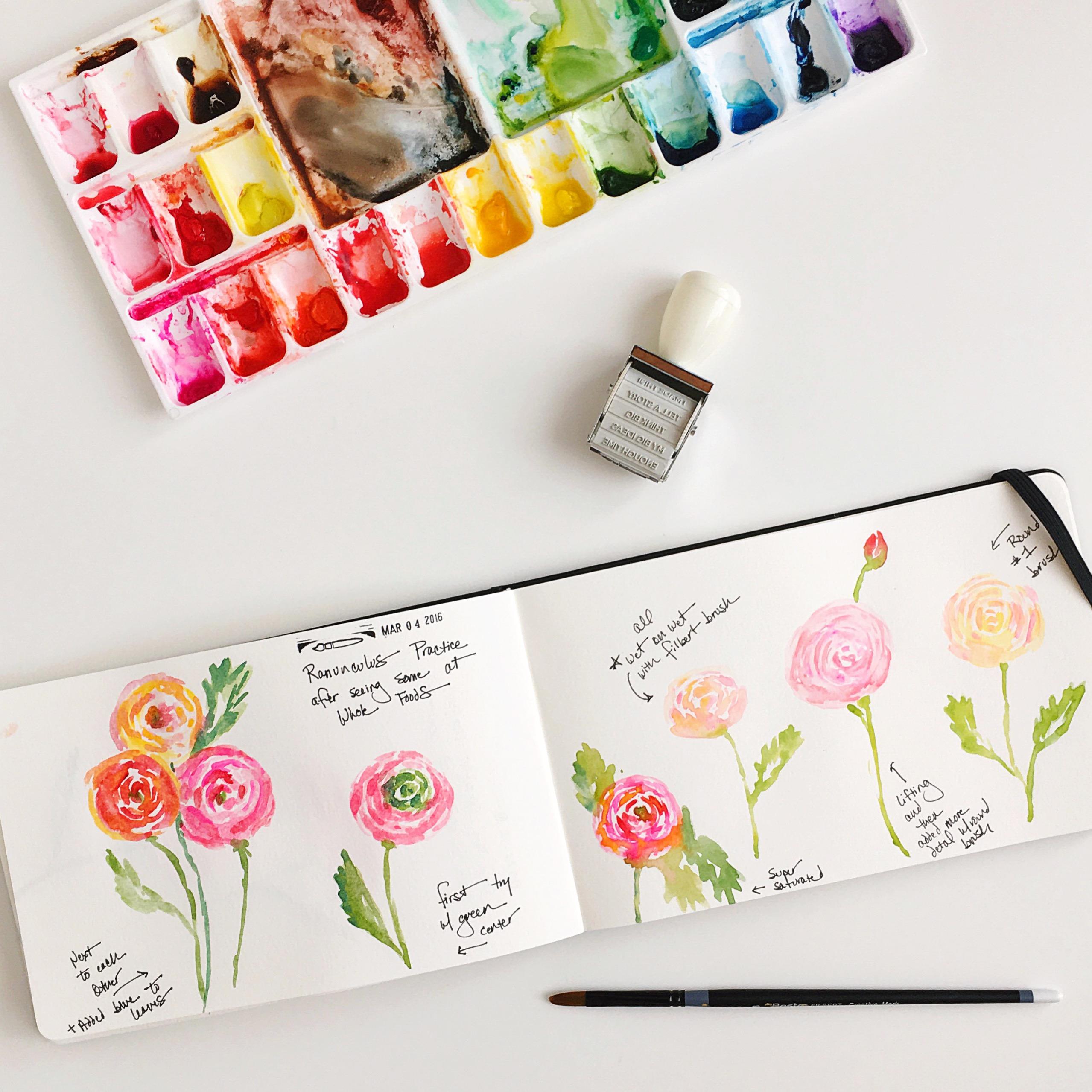 Ranunculus practice by Lisa Spangler