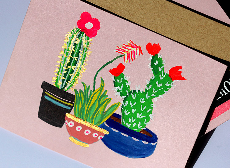 Cactus Trio with Gouache by Lisa Spangler