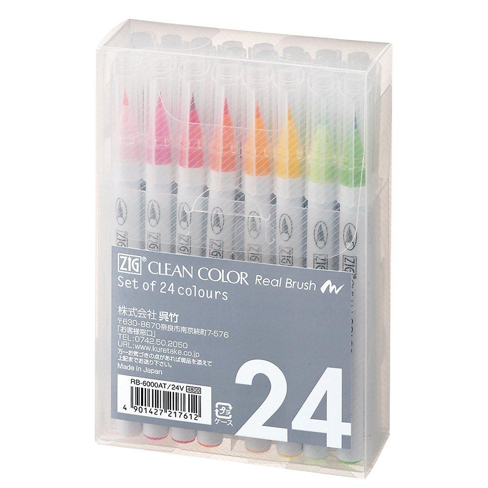 Set of 24 - Zig Clean Color Real Brush Pen (AZ)