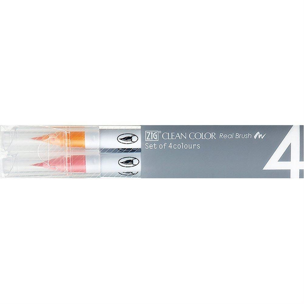 Set of 4 Pale Colors - Zig Clean Color Real Brush Pen(AZ)